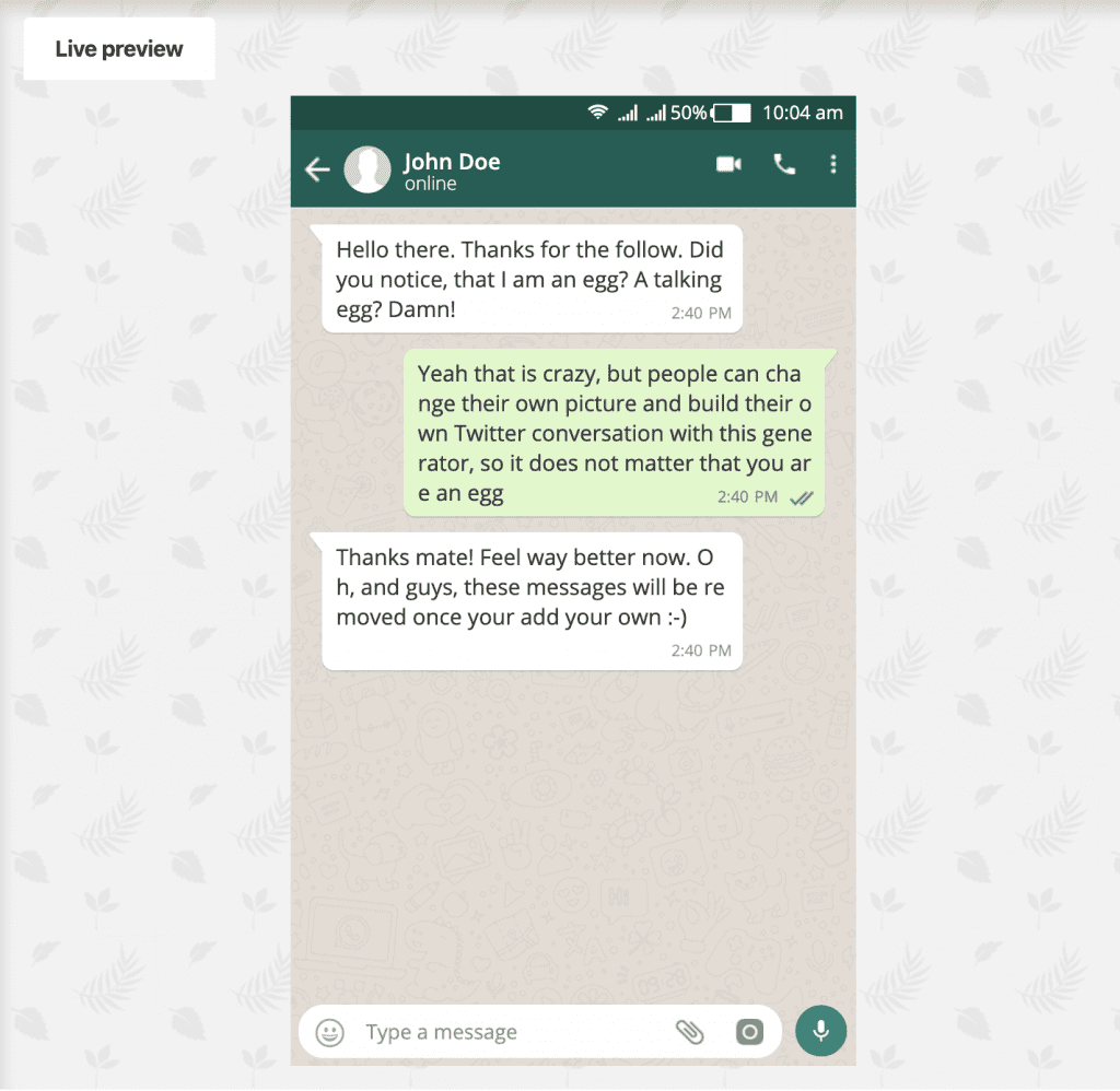 пример фейковой переписки в whatsapp